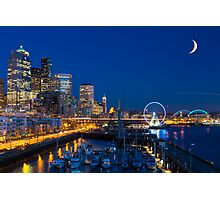 Seattle Waterfront at Twilight Photographic Print