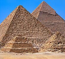Menkaure (& queens)  & Khafre Pyramids. by bulljup