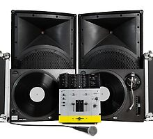 Dj equipment -vinyl, mixer, speakers and microphone by hurricanehank