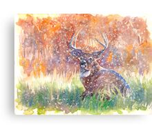 a stag in Winter Metal Print