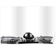 Turntables,mixer and headphones isolated on white Poster