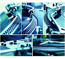 Collage of vinyl & turntables Photographic Print