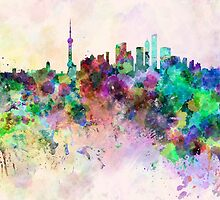 Shanghai skyline in watercolor background by paulrommer