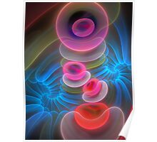 Neon Spirals and Bubbles, abstract fractal art Poster