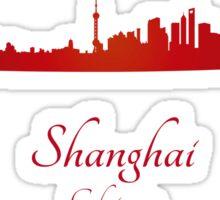 Shanghai skyline in red Sticker