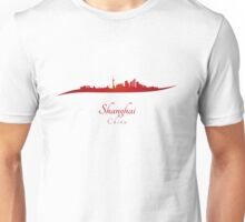 Shanghai skyline in red Unisex T-Shirt