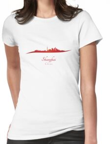 Shanghai skyline in red Womens Fitted T-Shirt
