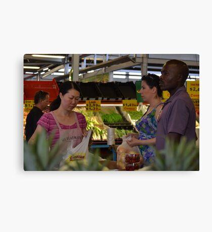Buying fresh fruit & veggies... Canvas Print