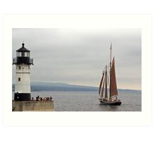 Sailing By The Lighthouse Art Print