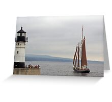 Sailing By The Lighthouse Greeting Card