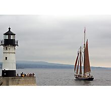 Sailing By The Lighthouse Photographic Print
