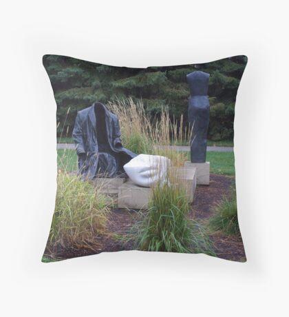 Man's Coat & Woman Dress Sculptures  Throw Pillow