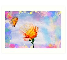 Rose And A Butterfly Gone With The Wind Art Print