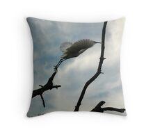 Snowy Egret balancing act Throw Pillow
