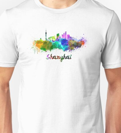 Shanghai skyline in watercolor Unisex T-Shirt