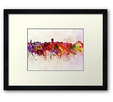 Sheffield skyline in watercolor background Framed Print
