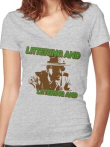 Littering And! Women's Fitted V-Neck T-Shirt