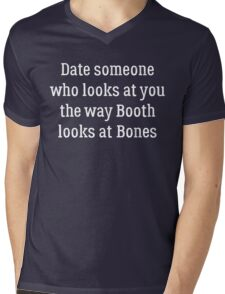 Date Someone Who - Booth & Bones Mens V-Neck T-Shirt