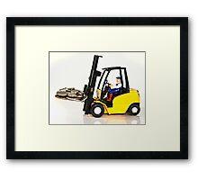 Forklift and Money Framed Print