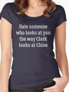 Date Someone Who - Chloe & Clark Women's Fitted Scoop T-Shirt
