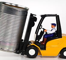 Forklift and tin can by Norma Cornes