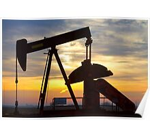Oil Well Pump Jack Sunrise Poster