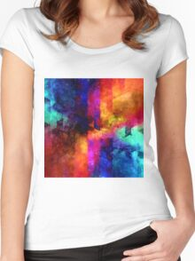 triangle space oil painting Women's Fitted Scoop T-Shirt