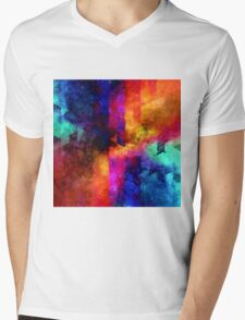 triangle space oil painting Mens V-Neck T-Shirt