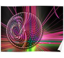 Beams and a Ball, abstract fractal artwork Poster