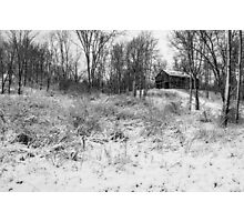 Winter Barn 1 - Black and White Photographic Print