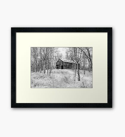 Winter Barn 2 - Black and White Framed Print