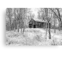 Winter Barn 2 - Black and White Canvas Print