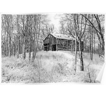 Winter Barn 2 - Black and White Poster