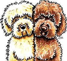 Cream & Chocolate Labradoodles by offleashart