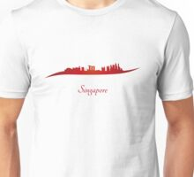 Singapore skyline in red Unisex T-Shirt
