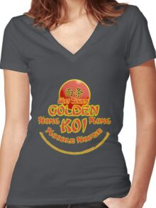 Sleeping Dogs, Golden Koi Noodle Bar Women's Fitted V-Neck T-Shirt