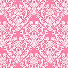 Pink and White Damask Pattern by cinn