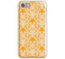Orange and White Damask iPhone Case/Skin