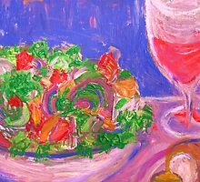 Salad with Bread and Wine by artqueene