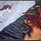 Unicorn Vs Dragon by DarkKitty69