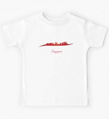 Singapore skyline in red and gray background Kids Tee