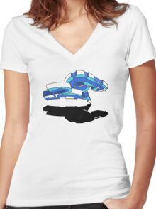RO BLUE Women's Fitted V-Neck T-Shirt