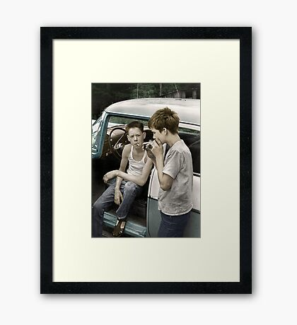Cornett boys smoking by car Framed Print