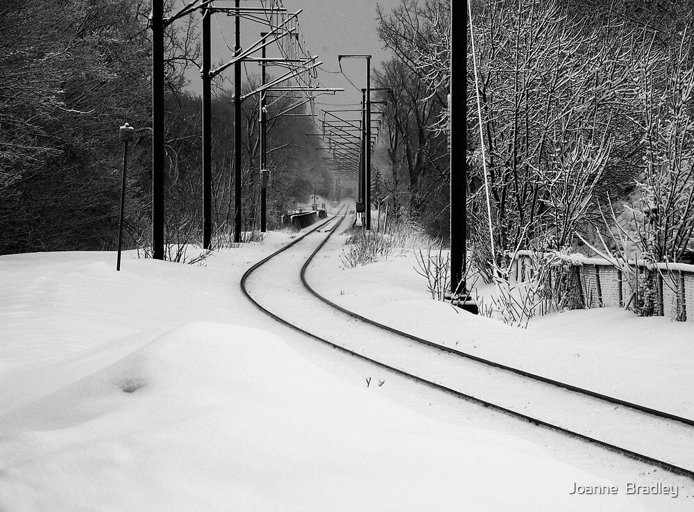 February Snowstorm on Tracks by Joanne  Bradley