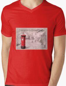 Seasons Greetings Postbox Mens V-Neck T-Shirt
