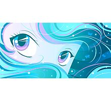 Teal Manga Eyes Photographic Print