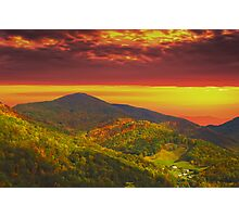 FARM NESTLED IN MOUNTAINS Photographic Print
