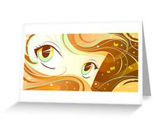 Yellow Manga Eyes Greeting Card