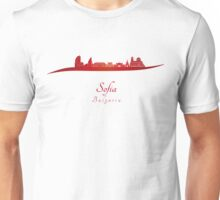 Sofia skyline in red Unisex T-Shirt