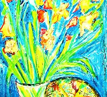 Yellow- Orange Orchids with Bird & Plate by artqueene